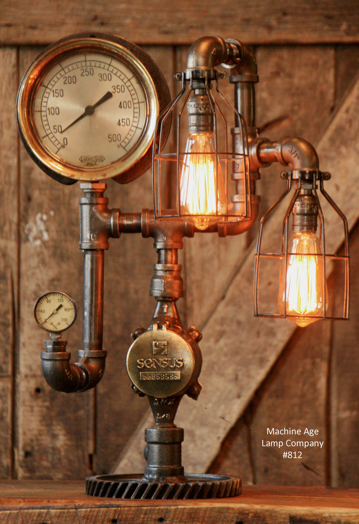 Steampunk, Industrial Steam Gauge and Gear Lamp #812 - SOLD