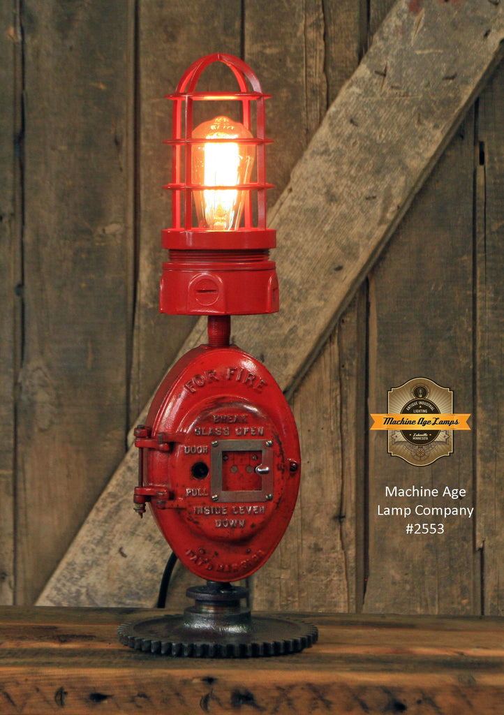 Steampunk Industrial Machine Age Lamp / Fireman / Police / Antique Call box / Alarm / Lamp #2553