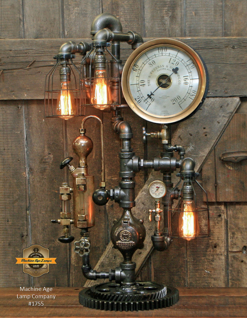 Steampunk Industrial Lamp / Antique Steam Gauge / Brass Oiler / Gear / Racine Wi / Lamp #1755