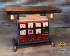 Steampunk Industrial / Antique Sun Engine Analyzer / Automotive / Barn wood Table / #2578