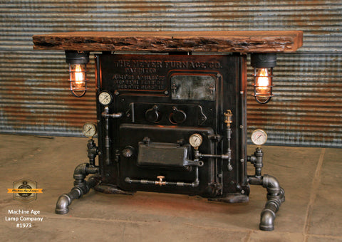 Steampunk Industrial / Antique Boiler Stove Front / Barnwood top / Steam Gauge / Table #1973
