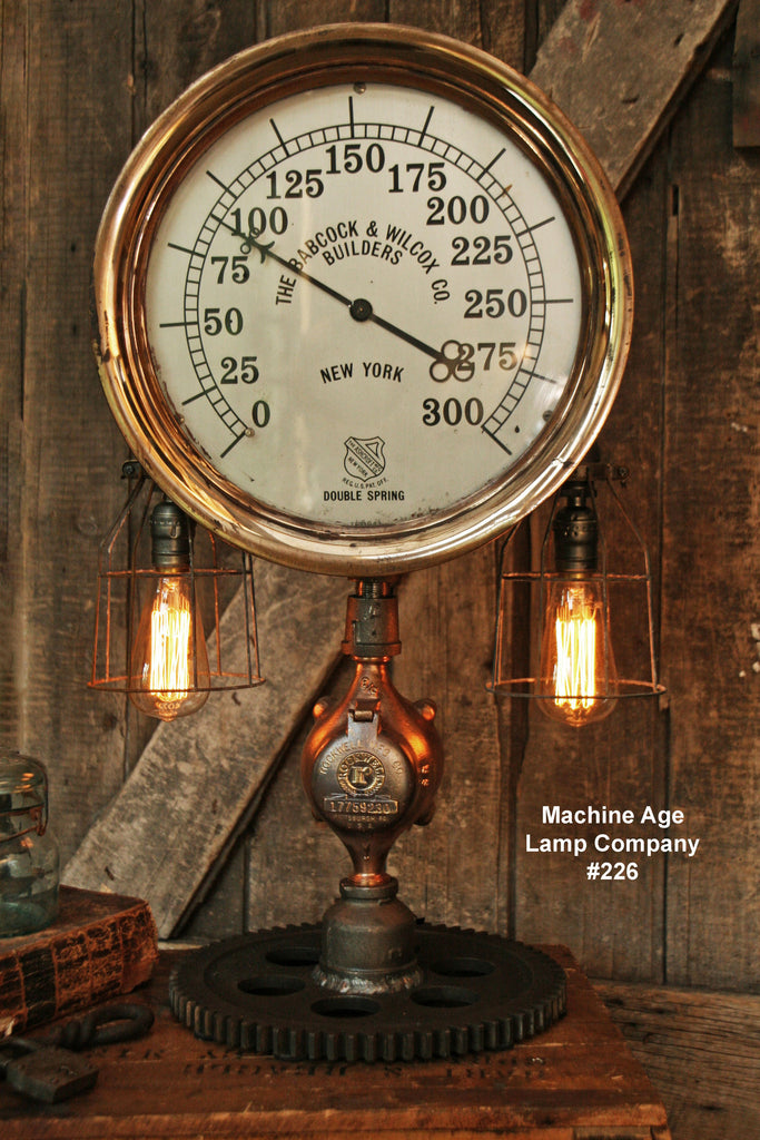 Steampunk Industrial Lamp, Steam Gauge  #226 - SOLD
