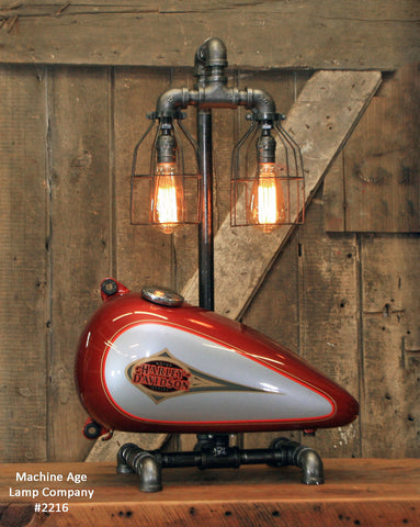 Steampunk Industrial Lamp / Re-Purposed HD Tank / Authentic Motorcycle Tank / Lamp #2216