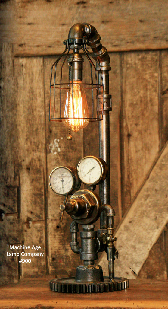 Steampunk Industrial Pipe Lamp, Brass Regulator, Steam Gauge , #900