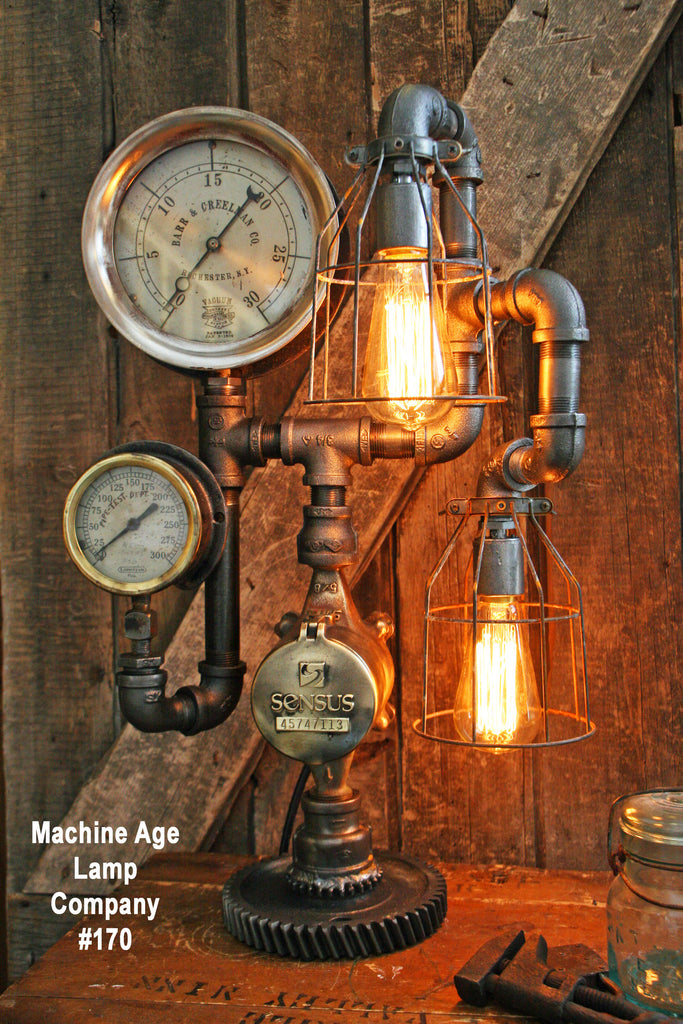 Steampunk Lamp, Antique Gear and Steam Gauge #170 - SOLD