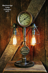 Steampunk Lamp, Antique Steam Gauge and Gear Base #177