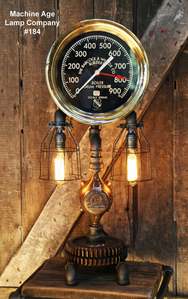 "Steampunk Lamp, Antique 12"" Steam Gauge and Gear Base #184 - SOLD"