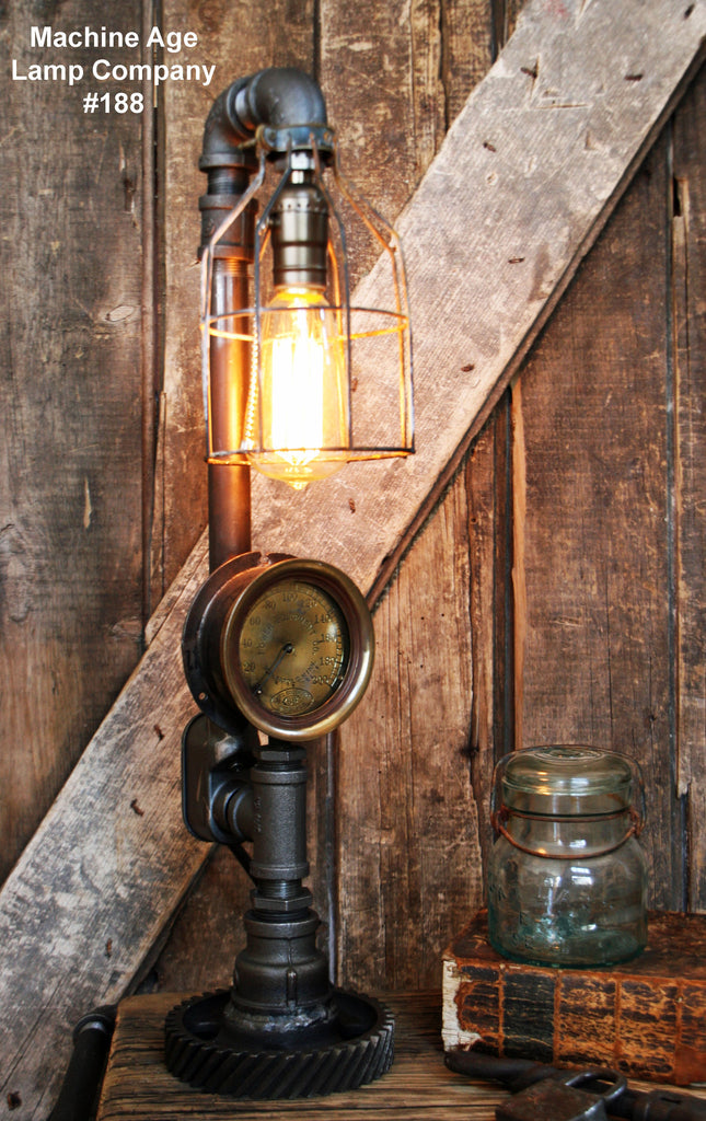 Steampunk Lamp, Steam Gauge and Gear Base #188 - SOLD
