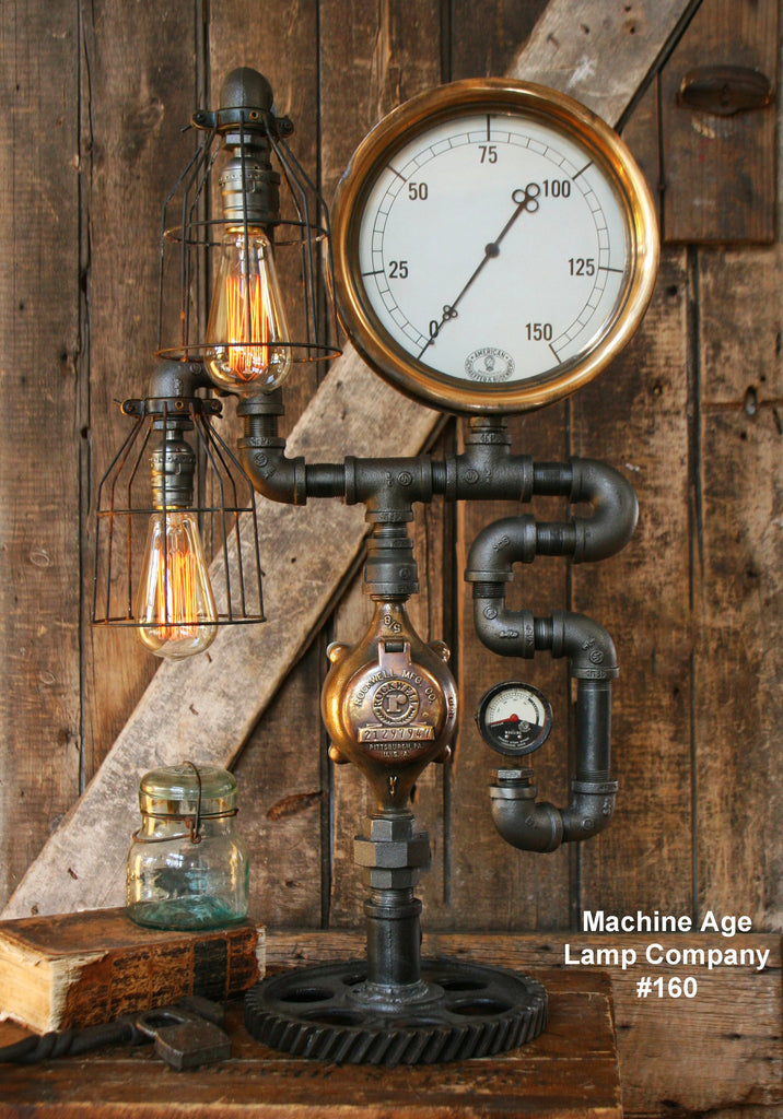 Steampunk Industrial Lamp, Steam Gauge  #160 SOLD
