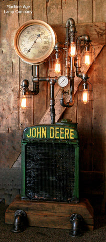 Steampunk Industrial , Antique John Deere Radiator Floor Lamp Farm  - #950