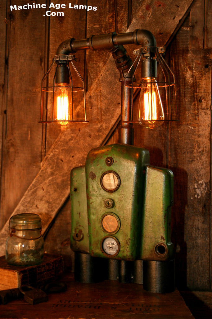 Steampunk Machine Age Lamp, John Deere A Farm #89 - SOLD