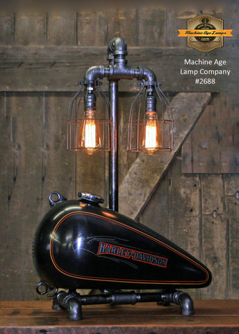 Steampunk Industrial, Original Motorcycle HD Gas Tank Lamp  #2688