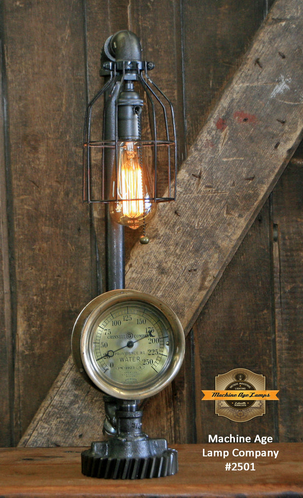 Steampunk Industrial Lamp / Antique Steam Gauge / Gear / Boston / Lamp #2501