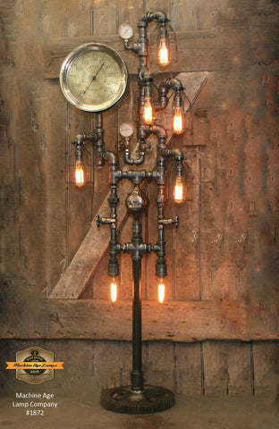 Industrial Steampunk / Antique Steam Gauge / Gear / St Louis / Floor Lamp #1872