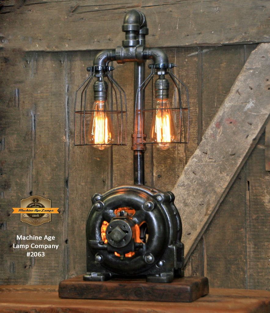 Steampunk Industrial / General Electric Motor / Barn Wood / Lamp #2063
