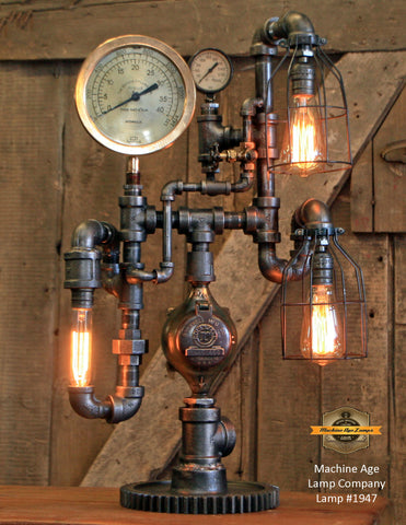 Steampunk Industrial Lamp / Roselle NJ / Steam Gauge / Gear / Lamp #1947 sold