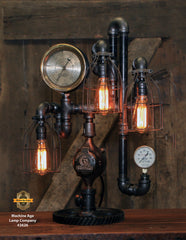 Steampunk Industrial / Machine Age Lamp / Steam Gauge / Gear Base / #2626