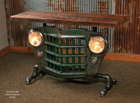 Steampunk Industrial Antique Jeep Willys Grille Table, Console - #1445