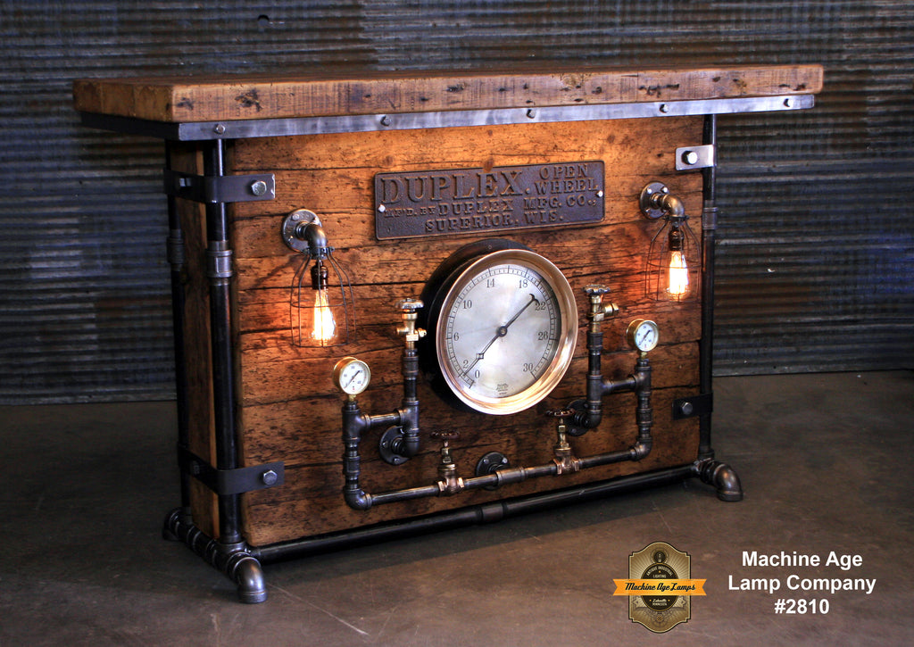 Steampunk Industrial / Bar / Barnwood /  Steam Gauge / Hostess Stand / Table / Pub / #2810