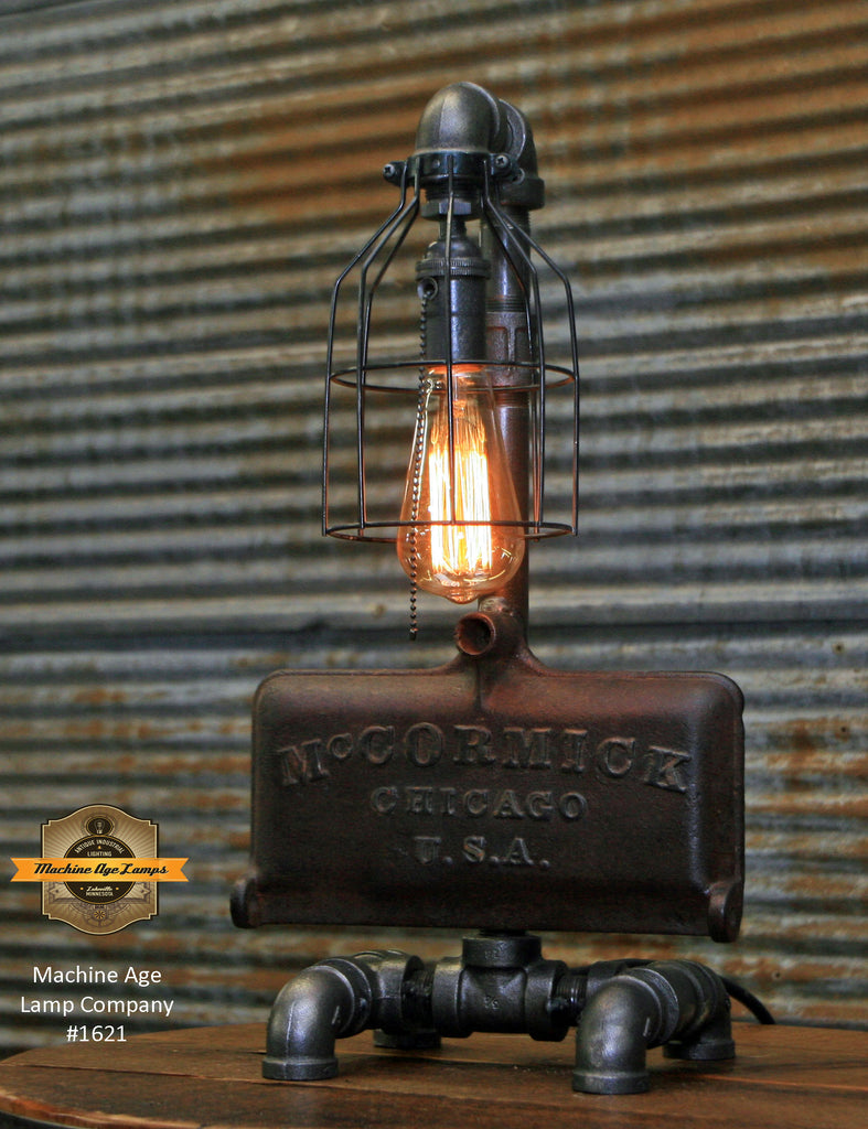 Steampunk Industrial Lamp / McCormick Chicago USA / Farm Tractor / Lamp #1621