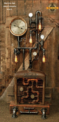 Steampunk Industrial / Floor Lamp / Barn Wood / Farm / Waukesha / #1475