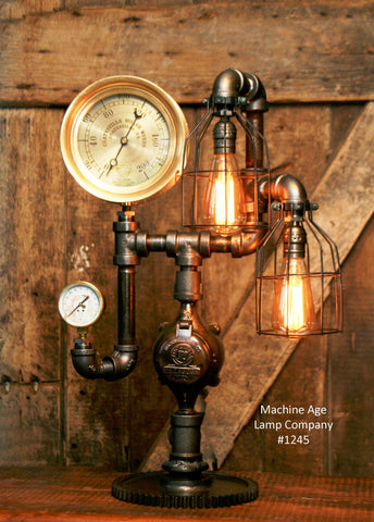 Steampunk Industrial Lamp / Steam Gauge / Gear /  #1245