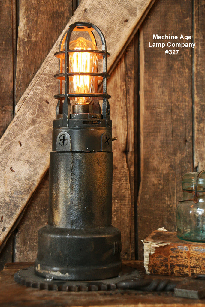 Steampunk Lamp, Antique Vent Pipe Lighthouse and Gear Base #327 - sold