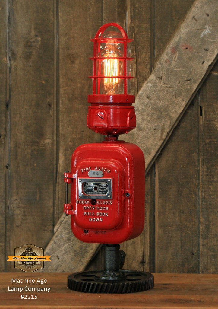 Steampunk Industrial / Antique Fire Call Box / 1925 Samson / Fireman / Gear / Lamp #2215 sold
