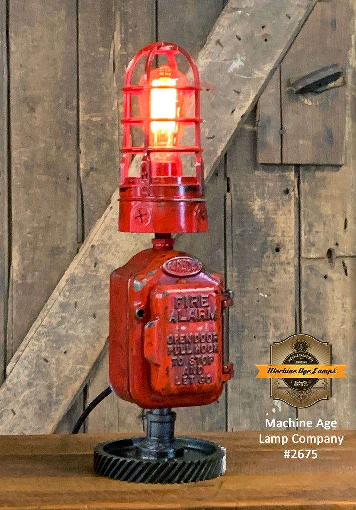 Steampunk Industrial Machine Age Lamp / Fireman / Police / Antique Call box / Alarm / Lamp #2675