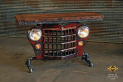 Steampunk Industrial / Willys Jeep / Grill Table / Barnwood Top / Red /  Table #2512