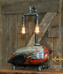 Steampunk Industrial Lamp / Antique Triumph / Authentic Motorcycle Tank / Lamp #2540