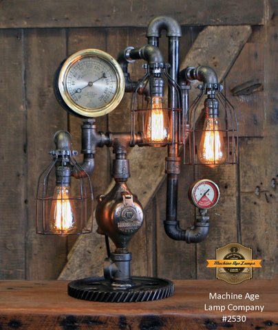 Steampunk Industrial / Antique Steam Gauge  / Barlow Waterbury Ct / Gear Base / Lamp #2530