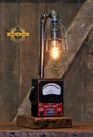 Steampunk Industrial / Antique Sun Meter / Automotive Car Garage / Lamp #2696