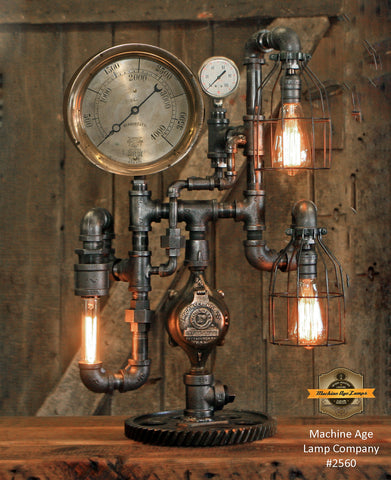 "Steampunk Industrial / 8"" Steam Gauge / Gear  / Gear Base / Lamp #2560"