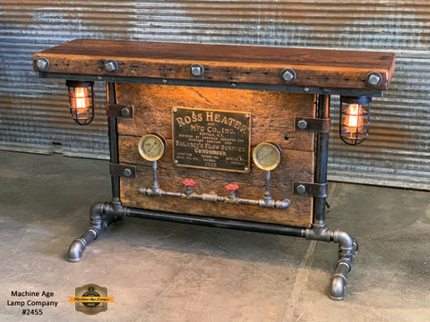 Steampunk Industrial / Barn Wood / Table / Console / Bar / Lighted / Table #2455