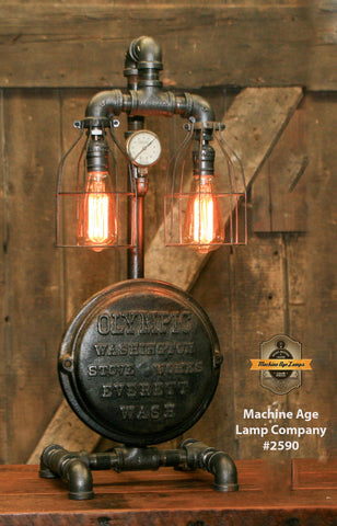 Steampunk Industrial / Antique Furnace Boiler Door / Washington / Lamp #2590