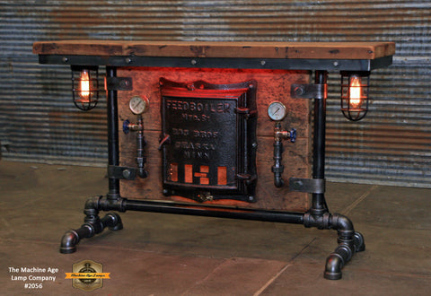 Steampunk Industirial Table / Antique Barn Wood / Furnace Door / Hallway Sofa Table #2056