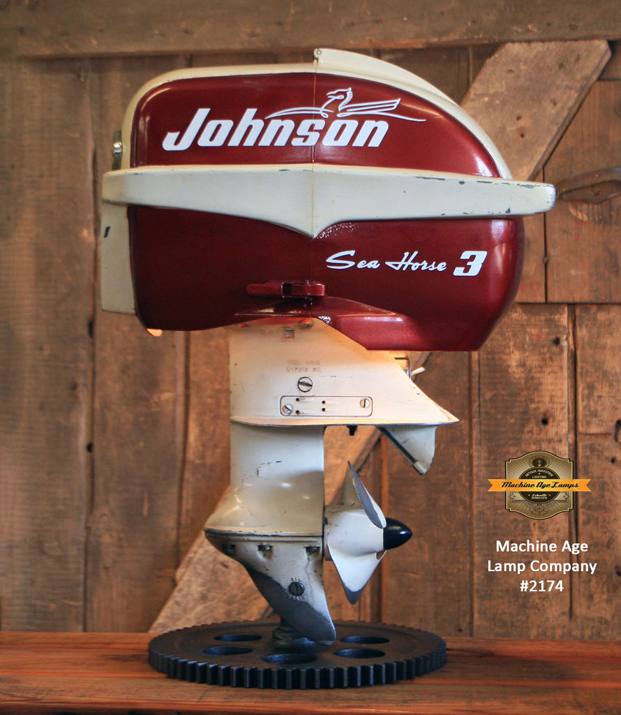 Steampunk Industrial / Antique Johnson Boat Motor / Nautical / Marine / Cabin / Lamp #2174