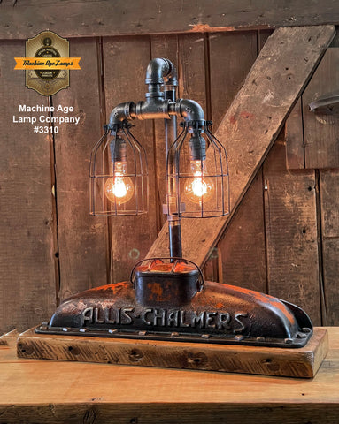 Steampunk Industrial / Allis Chalmers Tractor Radiator / Farm / Barnwood Base Lamp Light #3310