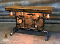 Steampunk Industrial / Antique Boiler Stove Door / Steam Gauge / Barn Wood / table #2585