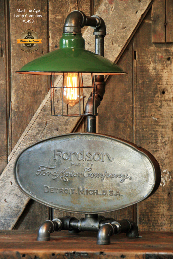 Jd Green Lamp Shades : Steampunk industrial lamp farm tractor antique