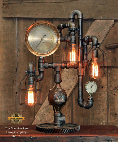 Steampunk Industrial / Antique Steam Gauge  / Gear Base / Lamp #2315