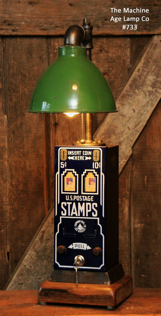 Steampunk, Industrial Stamp Machine, Green Shade Lamp #733 - SOLD