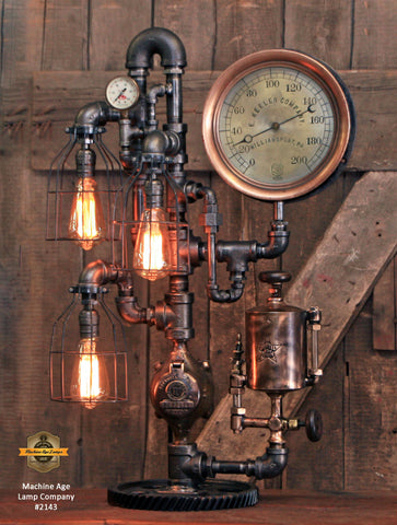Steampunk Industrial / Antique Steam Gauge Lamp / Gear / Oiler / Williamsport PA / #2143