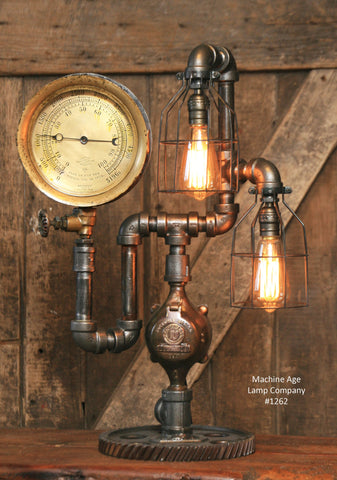 Steampunk Industrial / Antique Steam Gauge / Gear / Lamp / #1262