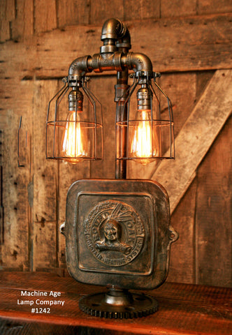Steampunk Industrial Lamp / Indian  / Stove Door / Round Oak / #1242
