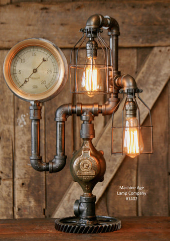 Steampunk Industrial Lamp / Gear / Steam Gauge / - #1402