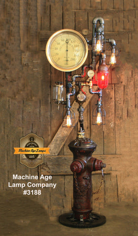 Steampunk Industrial / Fire Hydrant / Floor Lamp / Steam Gauge / Lamp #3188