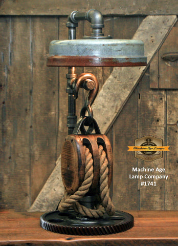 Steampunk Industrial / Antique Block and Tackle / Antique Chicken Feeder Shade / Gear / Lamp #1741