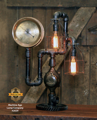 Steampunk Industrial / Machine Age Lamp / Steam Gauge / Gear Base / #2629 sold